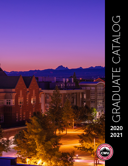 2020-2021 CWU Graduate Catalog Cover Picture of the sunsetting over the Central Campus